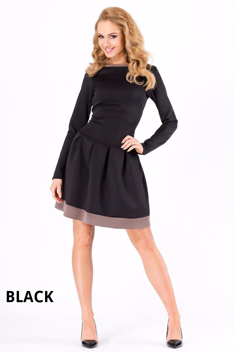 Ladies Classic Skater Dress Crew Neck Long Sleeve Cocktail Tunic Size 8 12 Fa373