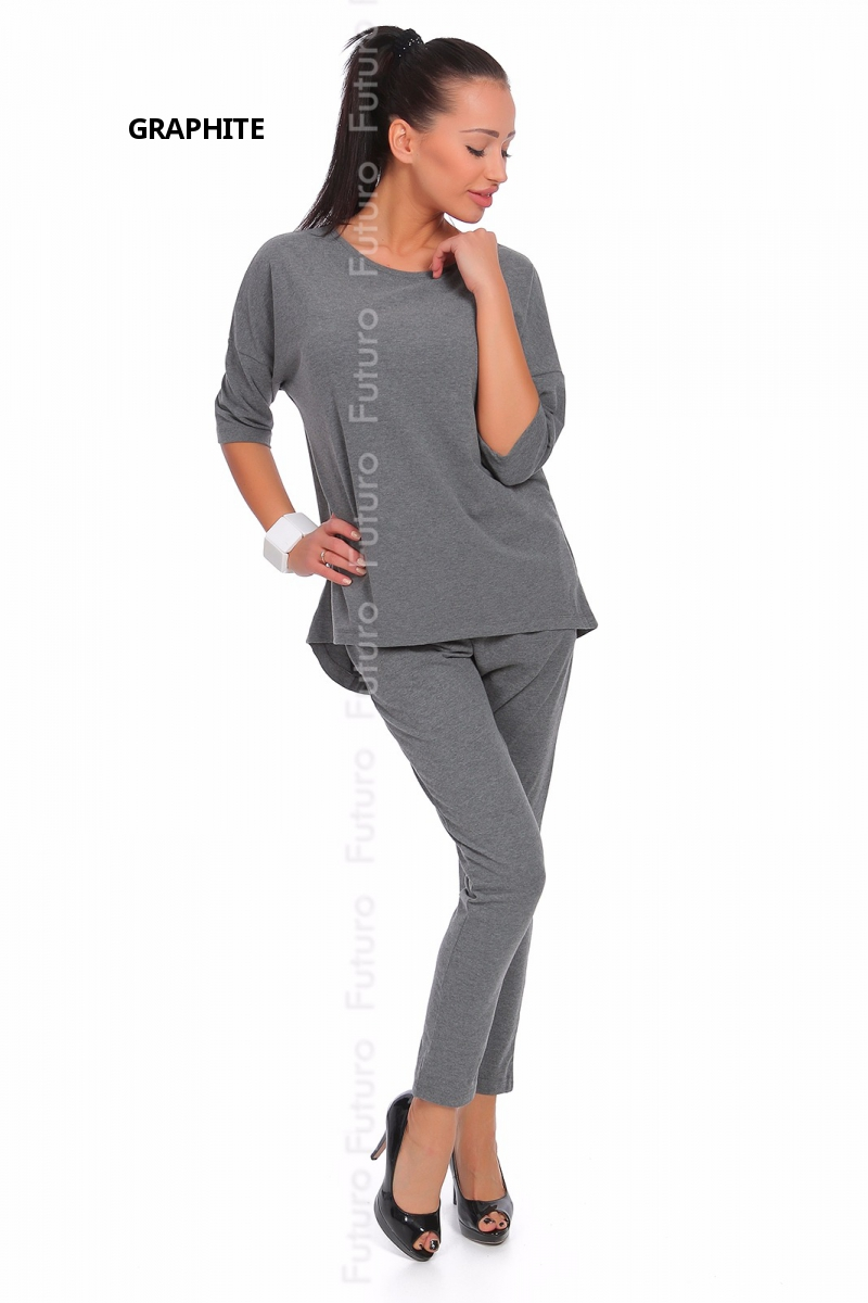 Popular Womens Plus Size Long Sleeve Printed Sports Pants Suit Gray  PINK