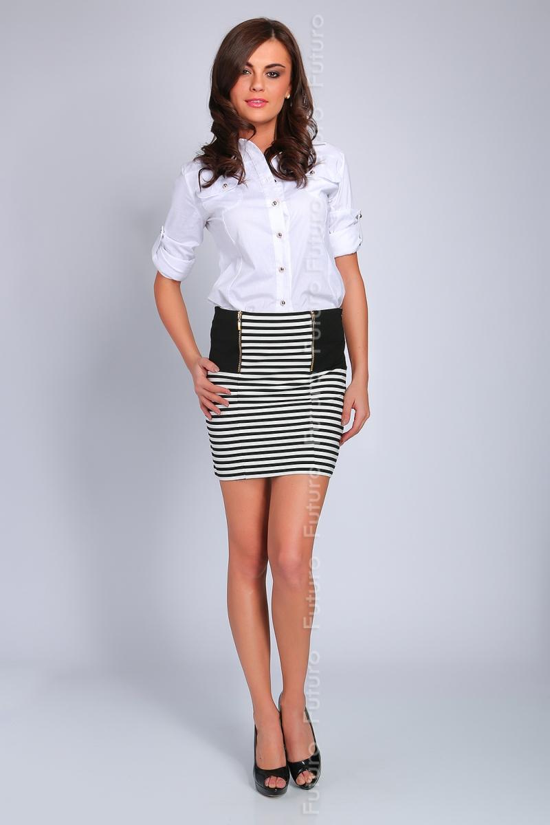 striped black white pencil skirt formal mini
