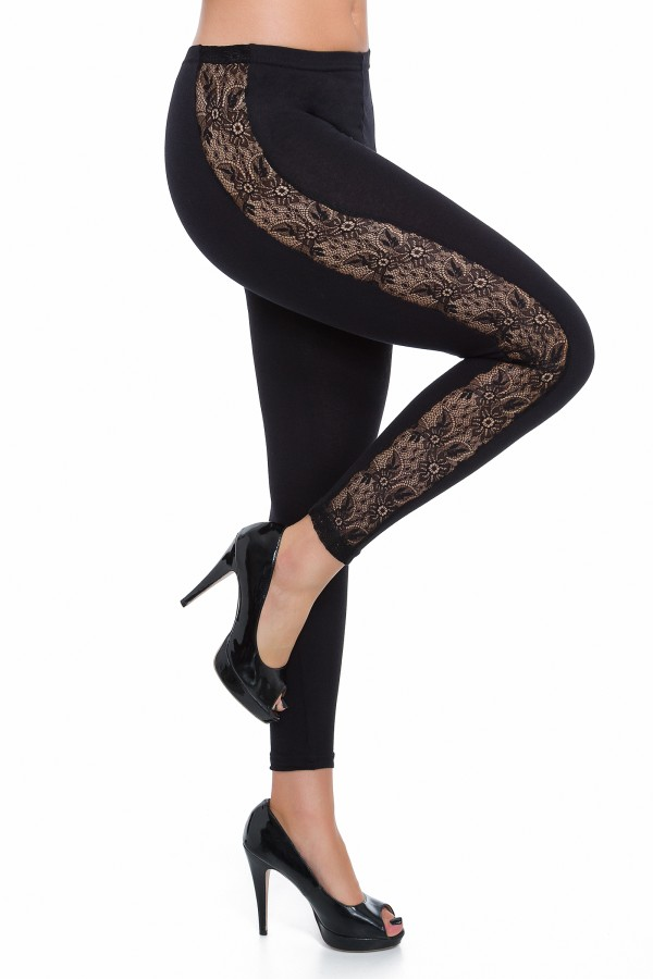 Leggings with Lace Stripe Stretchy...