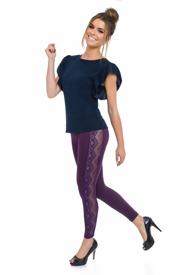Long leggings with a lace stripe