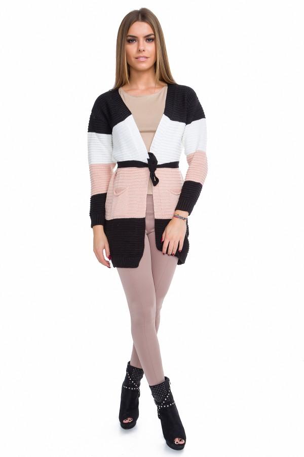 Women's Stripes Cardigan with Belt &...