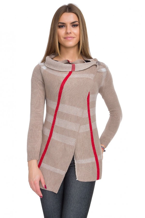 Womens Long Cardigan with Button Cowl...