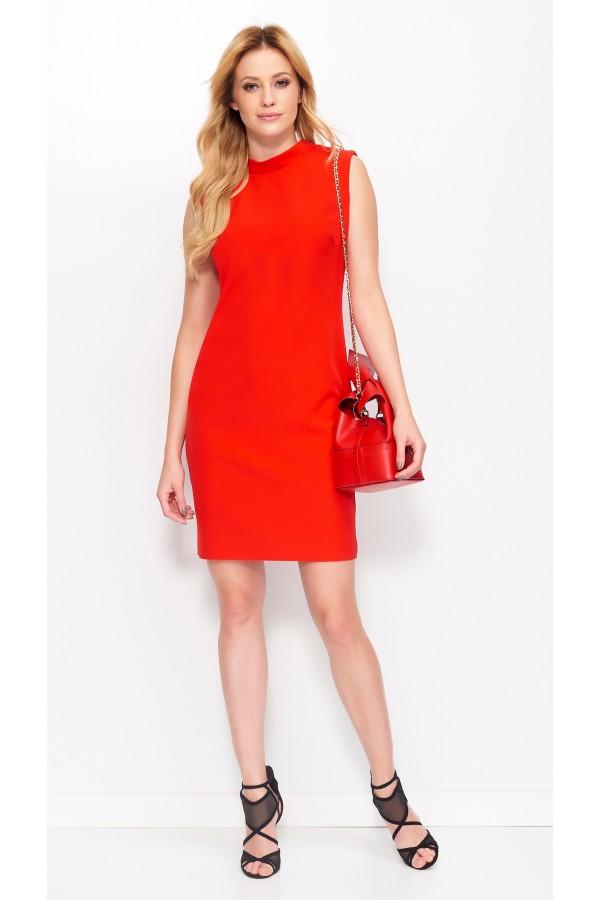 Mini Dress Opened Back High Neckline...
