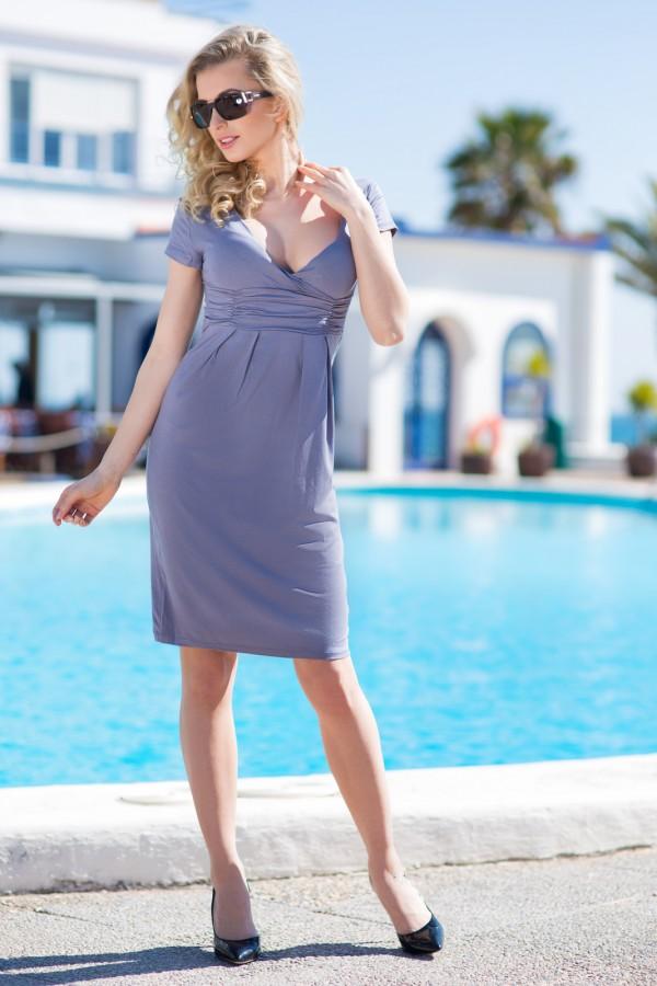 Elegant Dress V Neck Short Sleeve...
