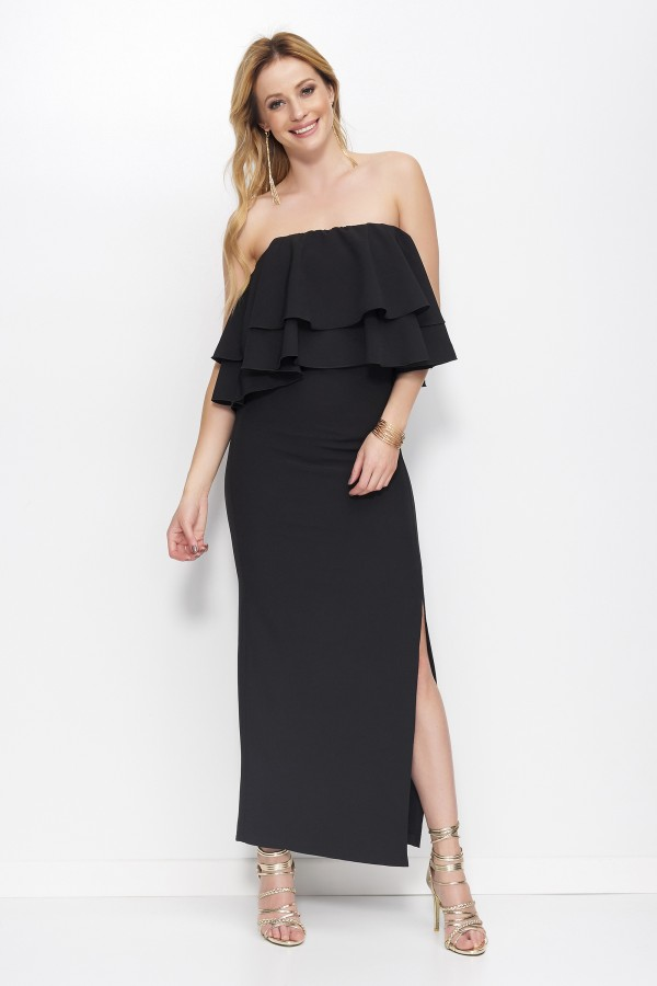 Strapless dress with frills