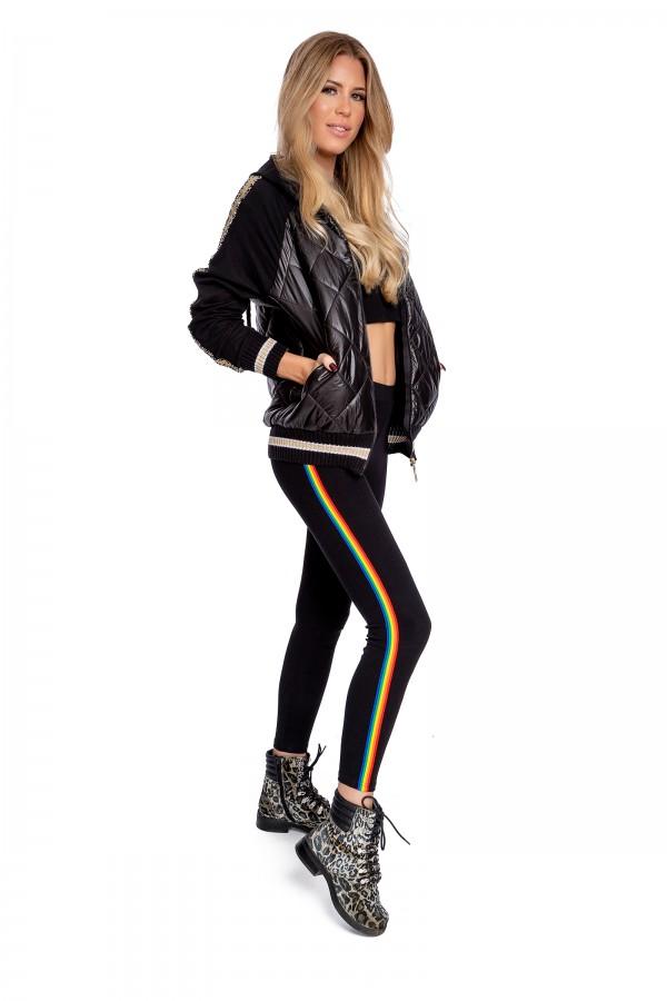 Black Leggings Patterned with stripe...