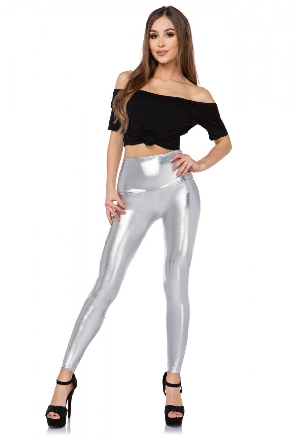 Shiny High Waisted Latex Leggings