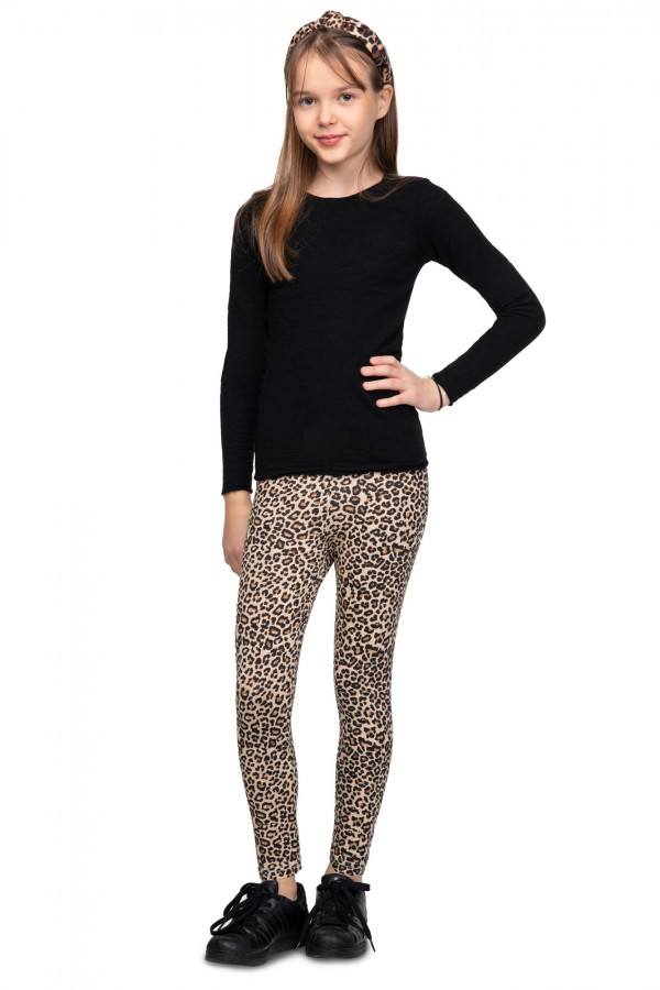 Girl's Elastic Panther Pattern...