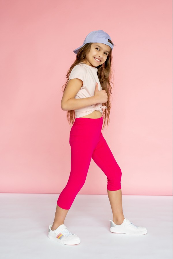 Girl's Capri Soft Cotton Leggings...
