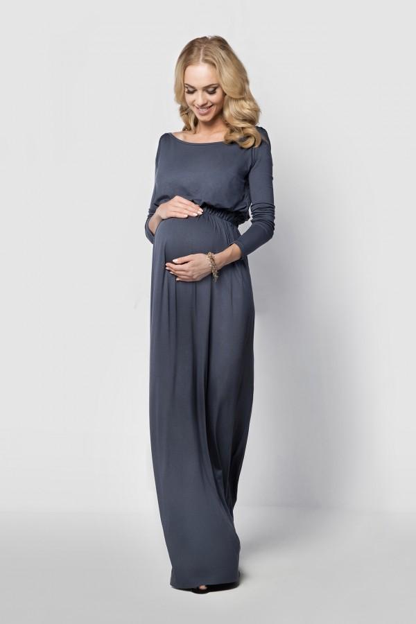 Elegancka, długa sukienka ciążowa