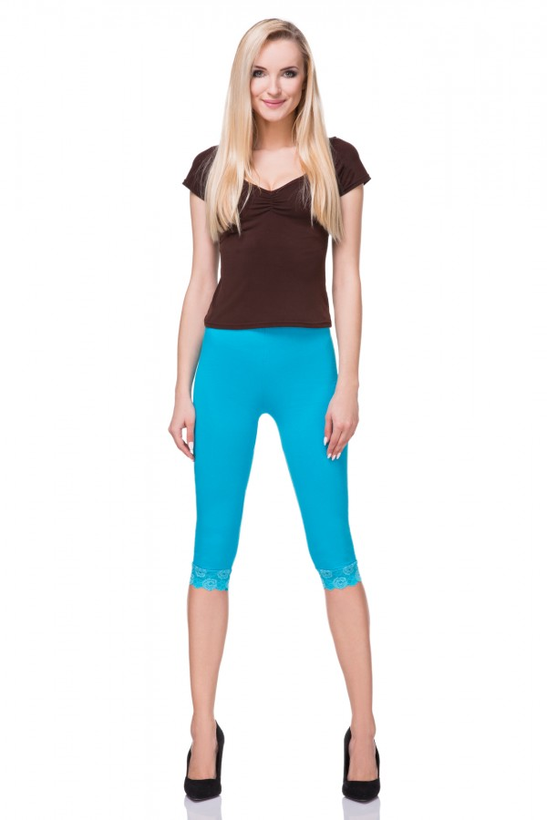 Women's Cotton Leggings 3/4 with Lace...
