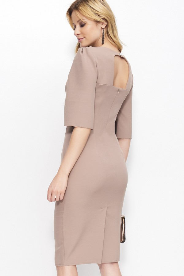 Midi Puff Dress with Open Back •...