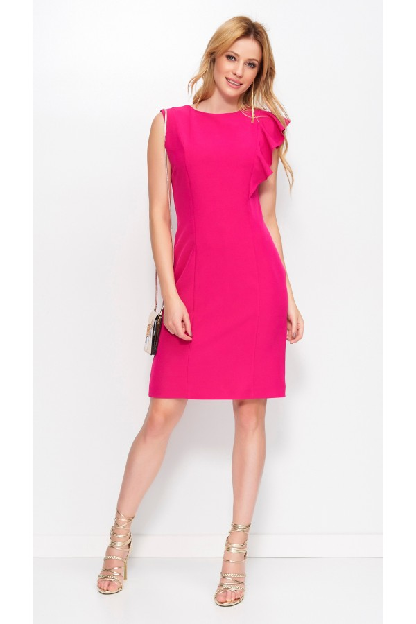 Midi Dress With Slit And Frill On The...