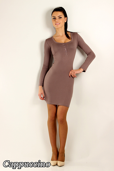 Bodycon Women/'s Dress with Buttons Cowl Neck Long Sleeve Tunic Size 8-12 2918
