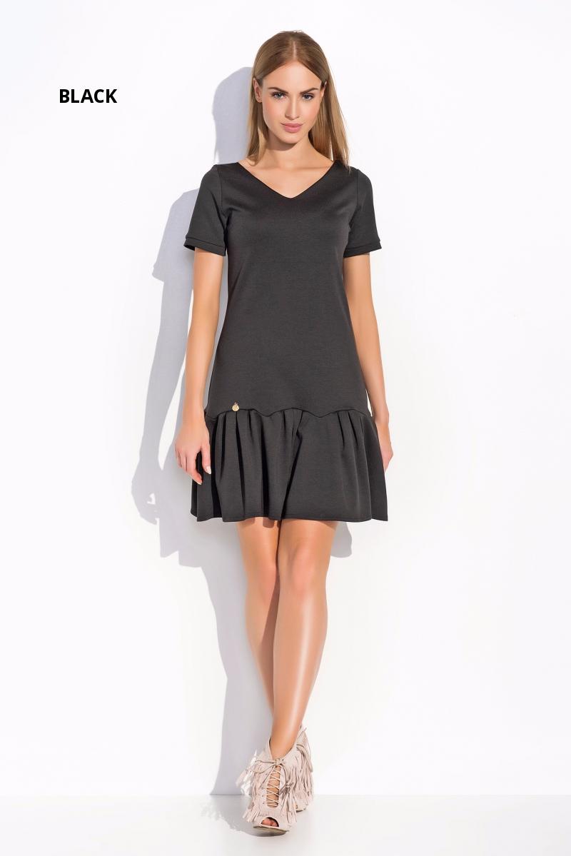Womens Mini Skater Dress V Neck Short Sleeve Frilled Tunic Sizes 8-12 FA500