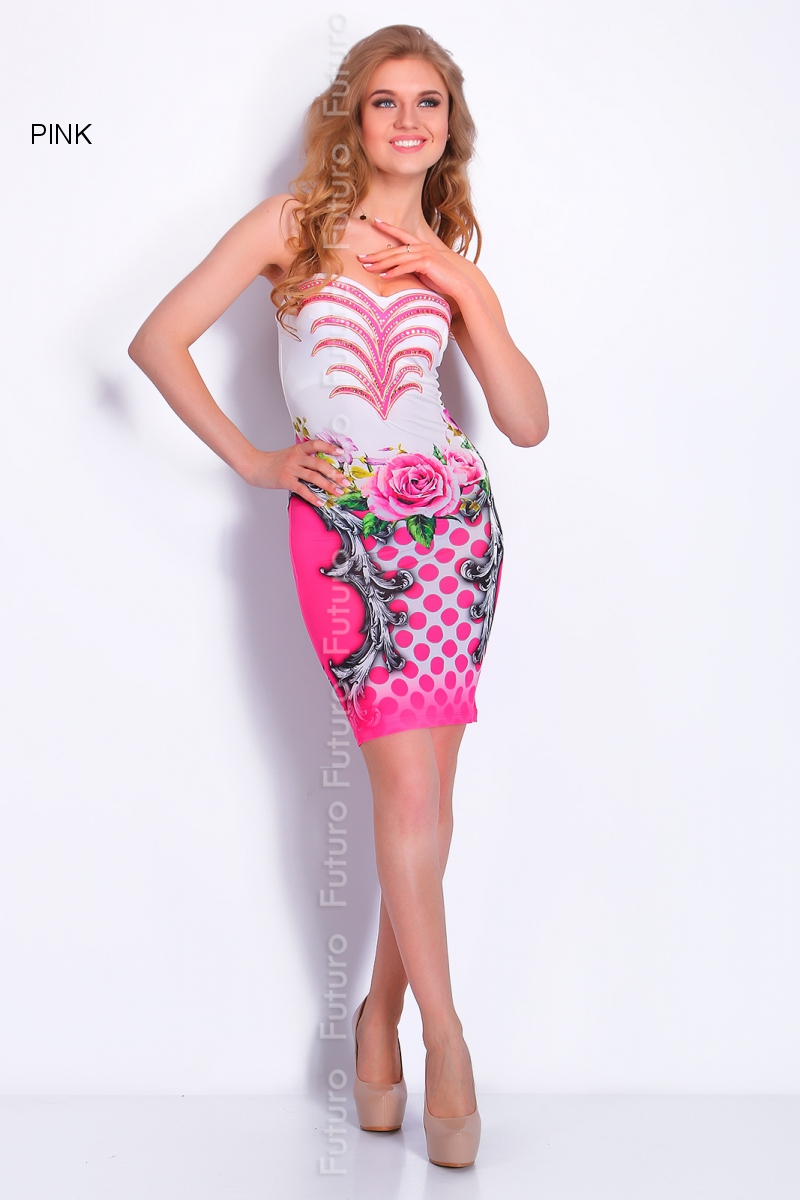 Party Sequined Bodycon Floral Print Mini Dress Bandeau Tunic Sizes 8-14 FC1447