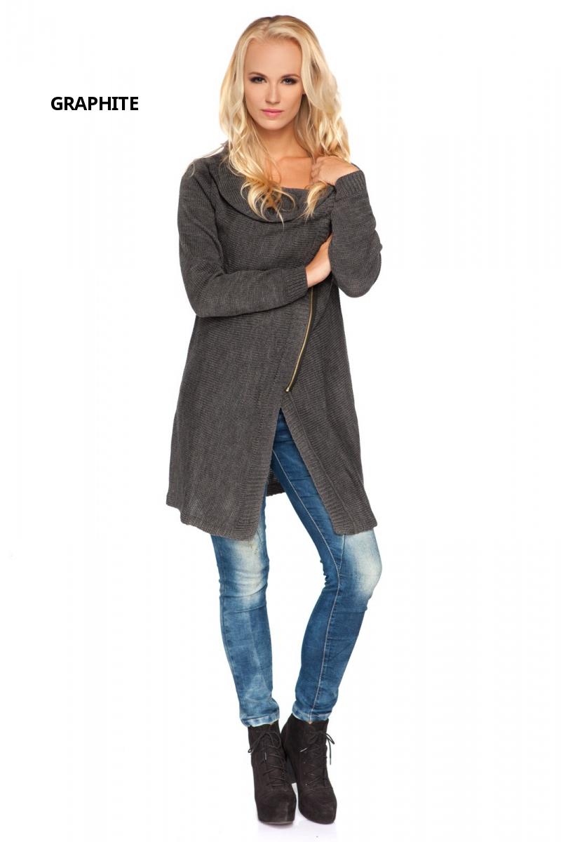 Womens Long Thick Blazer With Asymmetric Zip Cardigan Sweater Sizes 8-14 MV151